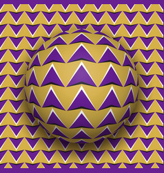 Ball with a purple arrows pattern rolls along vector