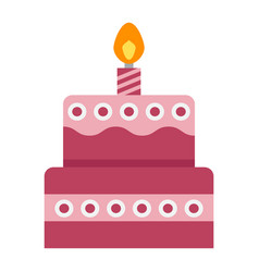 Birthday cake flat icon sweet and holiday vector