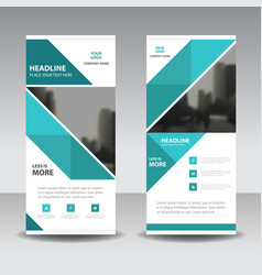 Blue abstract triangle business roll up banner vector