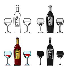 Bottle of red wine with glasses icon in cartoon vector