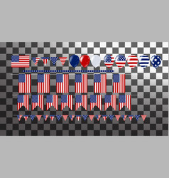 bunch of flag and balloons party decorations for vector image