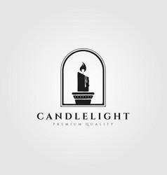 Candle light flame logo design vintage vector