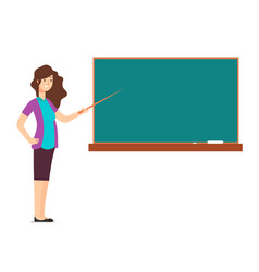 Cartoon teacher woman at blackboard teaching vector