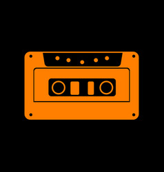 cassette icon audio tape sign orange icon on vector image