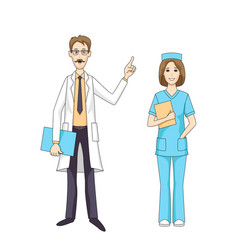 Caucasian doctor talking and female nurse isolated vector