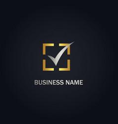 check list vote gold logo vector image