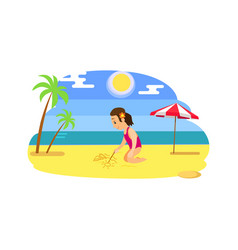 child drawing on send beach and ocean vector image
