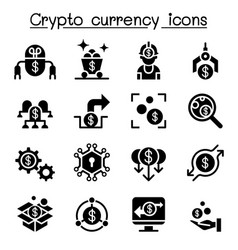 cryptocurrency fintech icon set vector image