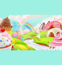 Cupcake fairy cake sweet landscape 3d background vector
