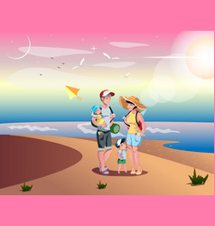 cute cartoon family on beach vector image