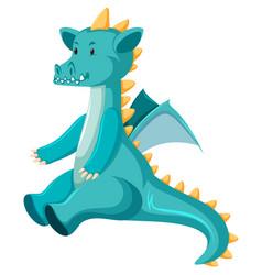 Cute sitting blue dragon vector