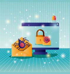cyber security with computer vector image