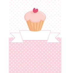 Decorated card with cupcake and pink polka dots vector image