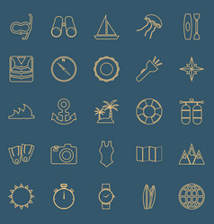 Diving line color icons on blue background vector