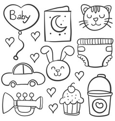 doodle of baby style hand draw vector image