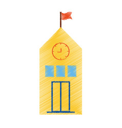 Drawing yellow school building flag clock vector