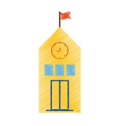 Drawing yellow school building flag clock vector