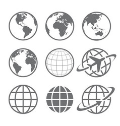 earth globe icon set vector image