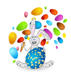 easter bunny with colored eggs vector image