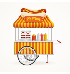 Fast food hot dog street market stall vector