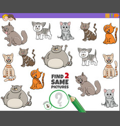 Find two same cats game for children vector