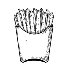 french fries in engraving style design element vector image