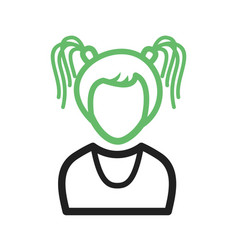 Girl in high ponytails vector
