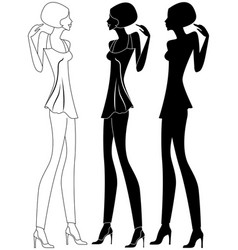 girl in shoes with high heels vector image
