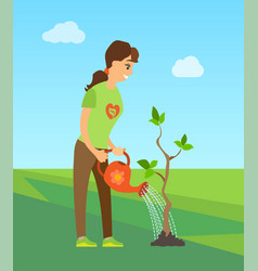 girl water tree from watering can person volunteer vector image