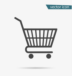 gray shopping basket icon on background modern fl vector image
