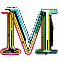 Grunge colorful font Letter M vector