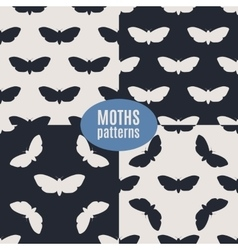 Hand drawn hawk moth seamless patterns set vector