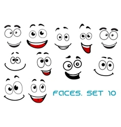 Happy emotions on cartoon faces vector