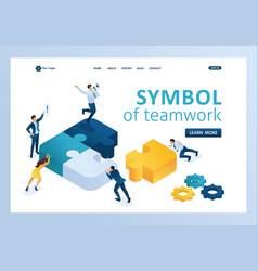 Isometric people connecting puzzle elements symbol vector