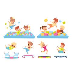 Kids in soft pool children jump on vector