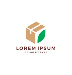 leaf box cube cardboard logo vector image