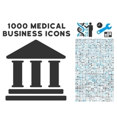 Library building icon with 1000 medical business vector