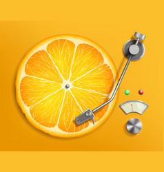 Lp vinyl record music disc like a citrus orange vector