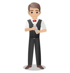 male bartender holding shaker vector image