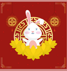 Mid autumn festival poster with rabbit and chinese vector