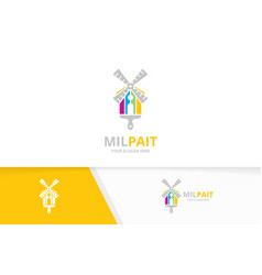 Mill and brush logo combination farm and vector