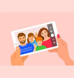 Mom dad and kids take selfie mobile tablet vector