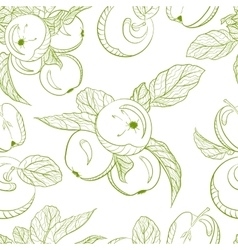 Monochrome pattern drawing apples and apple branch vector