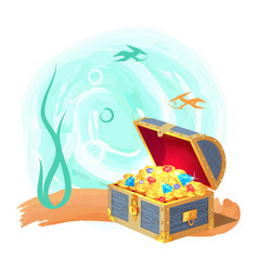 mysterious chest of treasures at deep sea bottom vector image