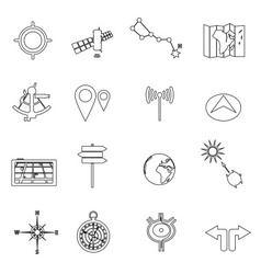 Navigation and travel outline icons set eps10 vector