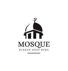 negative space silhouette mosque logo icon vector image