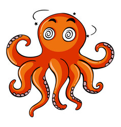 Octopus with dizzy face vector