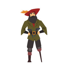 old pirate with wooden leg male buccaneer cartoon vector image