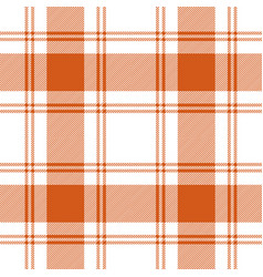 Orange white tartan plaid seamless pattern vector