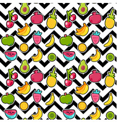 painted berries summer fruits mix seamless pattern vector image